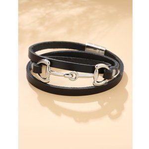 Black Horse Bit Faux Leather Silver Wrap Bracelet